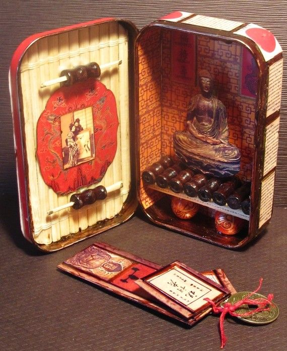 Japanese Buddhism mini Shrine tin box pocket shrine by SheMakeR