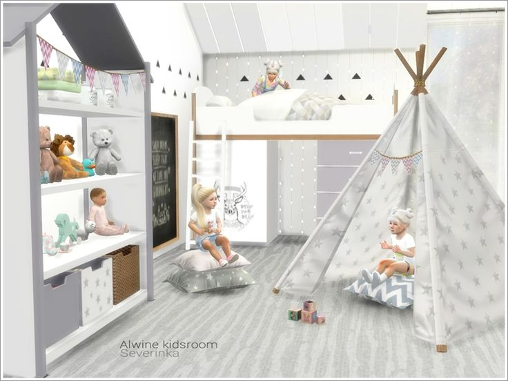 A set of furniture and decor for the design of a children's room in Scandinavian style. Found in TSR Category 'Sims 4 Kids Bedroom Sets'