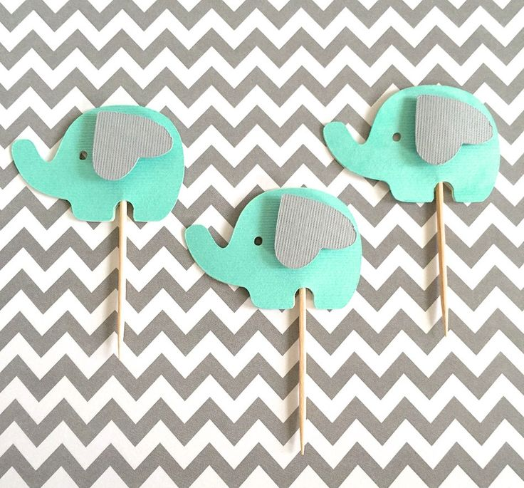Elephant cupcake toppers Elephant birthday by SweetLittlePieces