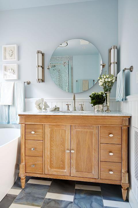Bathroom vanity: Sarah Richardson interior design.  No name or brand for vanity but it's oak. :(