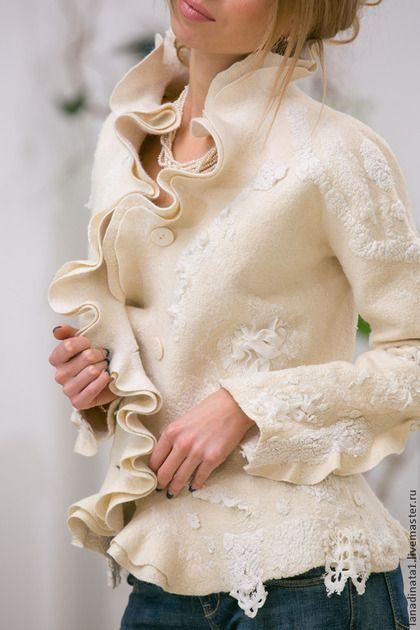 """Жакет """"Elegante bianco"""" - белый,жакет из войлока,элегантный жакет,дизайнерская одежда"""