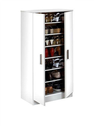White Wooden Hallway Shoe Storage Cabinet Free Standing 6 Shelf Cupboard 2 Doors #WoodluvSDM