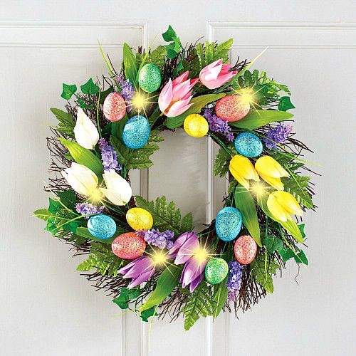 Colorful Lighted Easter Egg and Tulip Wreath Hanging Wall Twig Spring Decoraton  #SmartDealsMarket