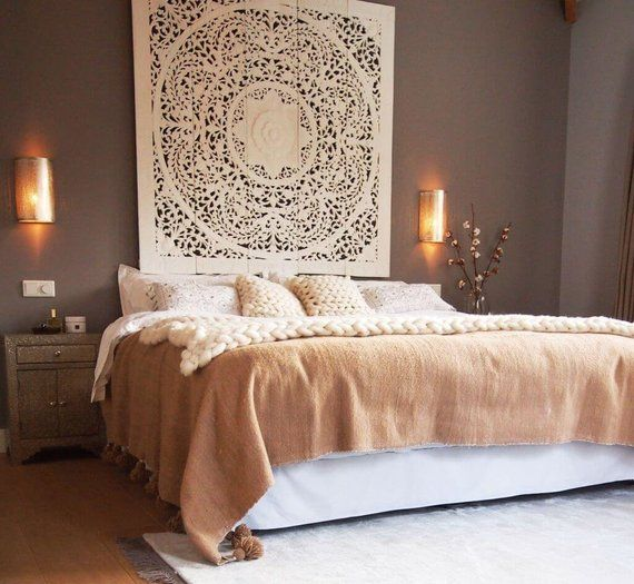 59 White Size Queen Bed Bohemian Headboard Mandala Sculpture