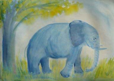 elephant - watercolour