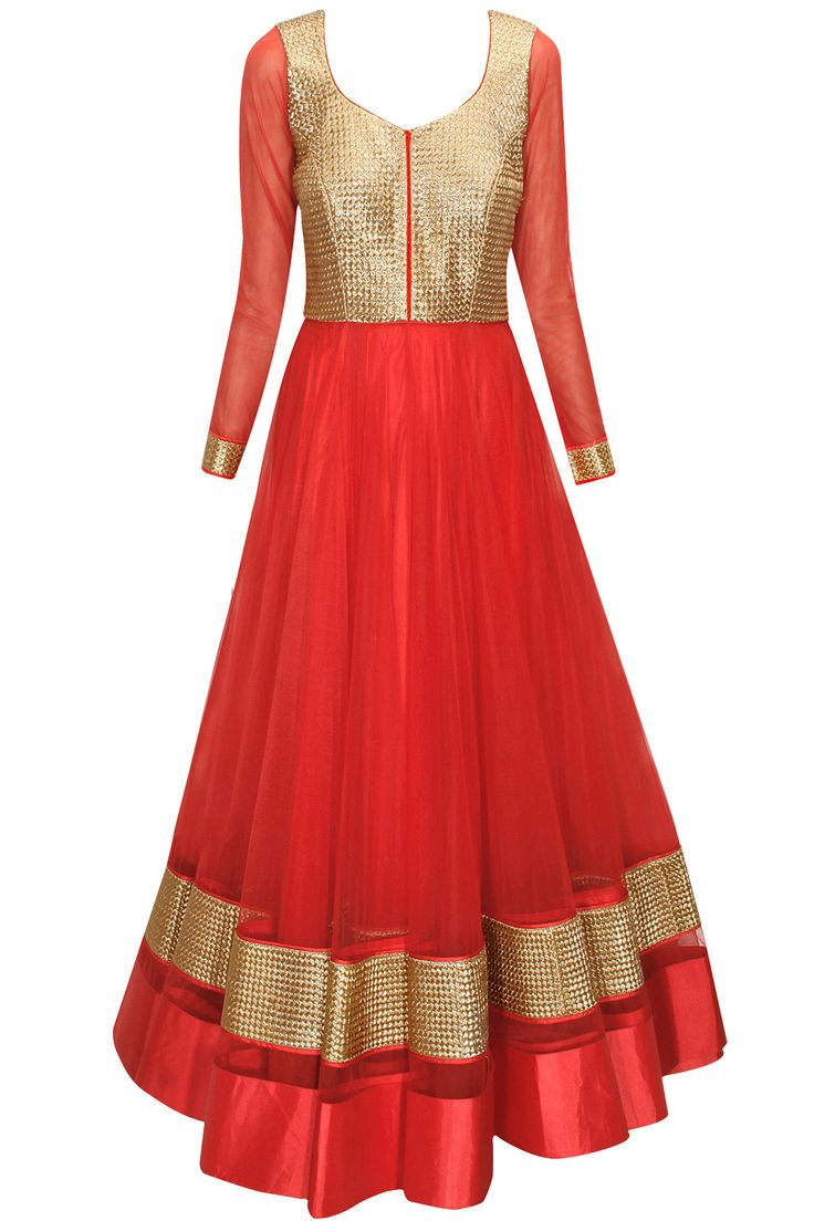 Red and gold woven embroidered anarkali with off-white dupatta available only at Pernia's Pop-Up Shop.
