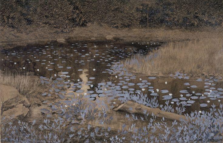Theodor Kittelsen, Tarn with Water Lilies. (1893)