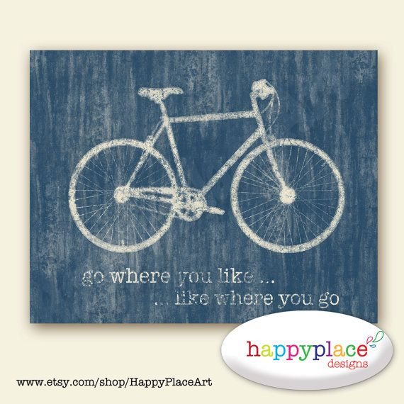 Bicycle Wall Art for Instant Download Poster 8x10in or 11x14in Other sizes and colours available. Blue Bike print.