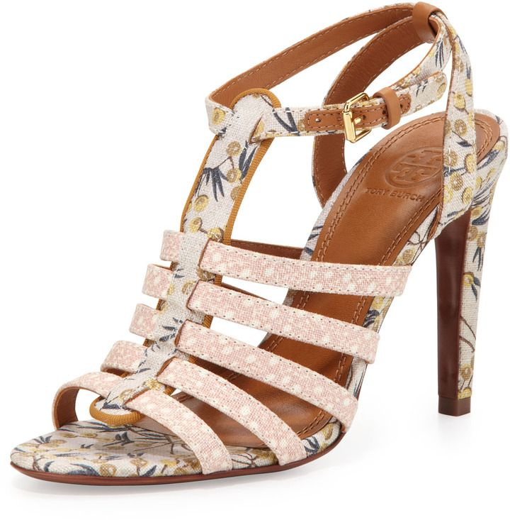 Tory Burch Charlene Floral-Print Canvas Sandals