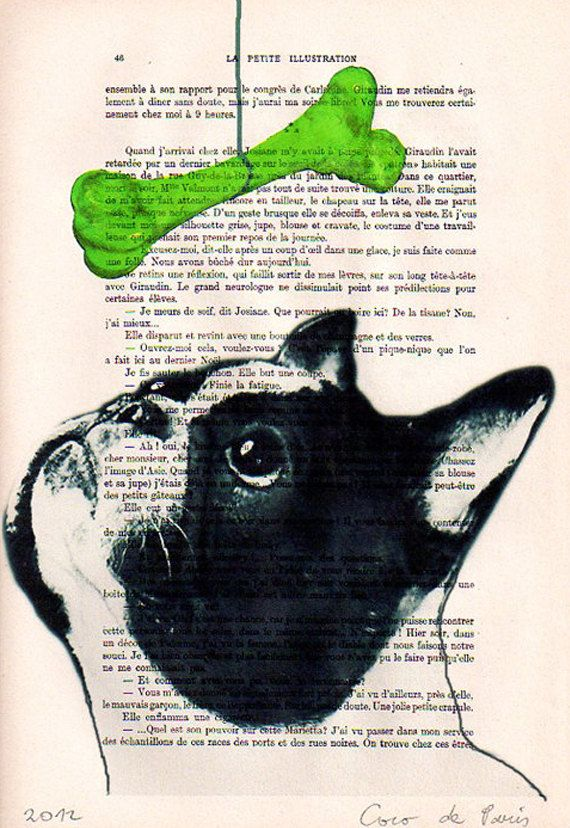 French bulldog with green pop-art bone - ORIGINAL ARTWORK Hand Painted Mixed Media on 1920 Parisien Magazine 'La Petit Illustration'