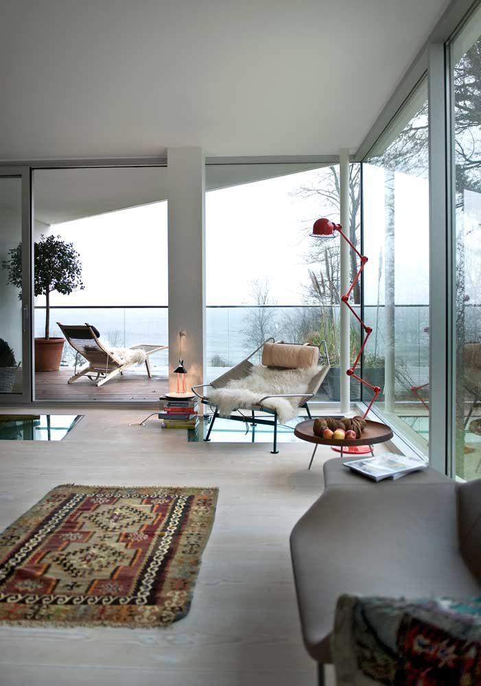 Red Jieldé floor lamp. And what a view!