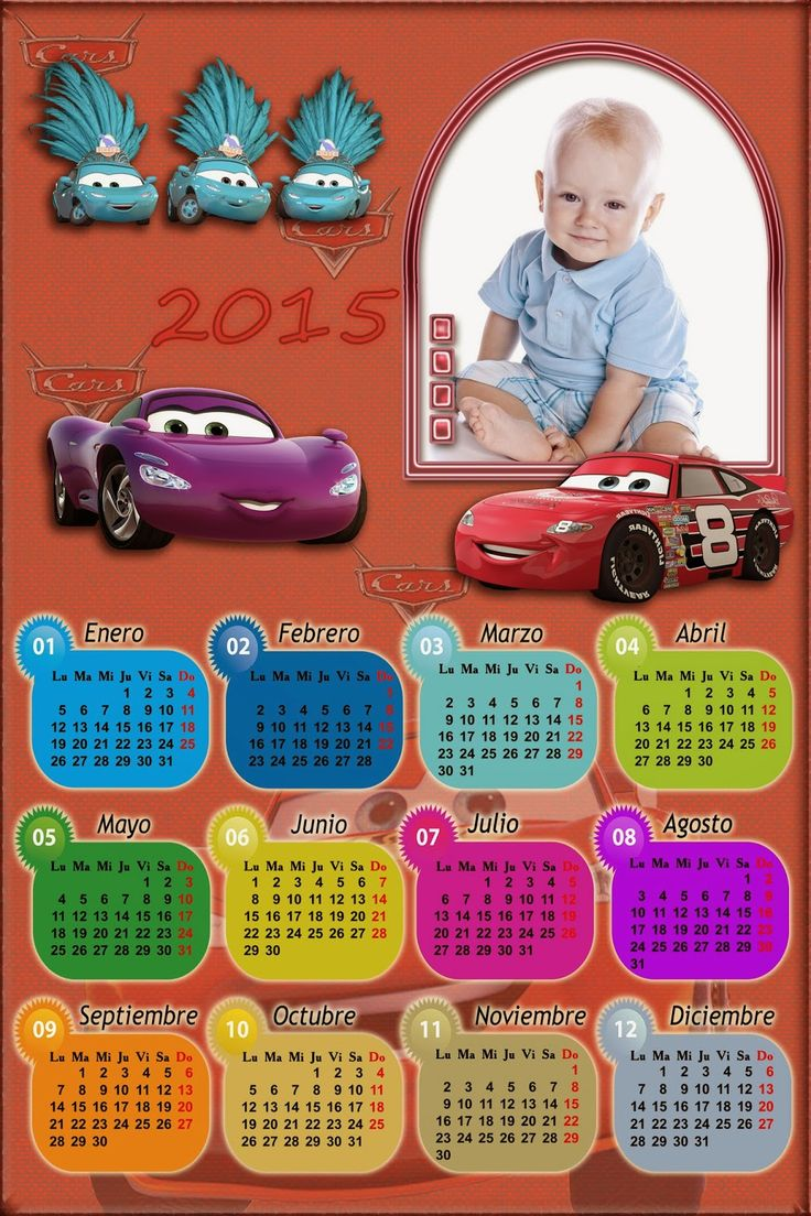 Recursos Photoshop Llanpac: Calendario para el 2015 personajes Cars para Photo...