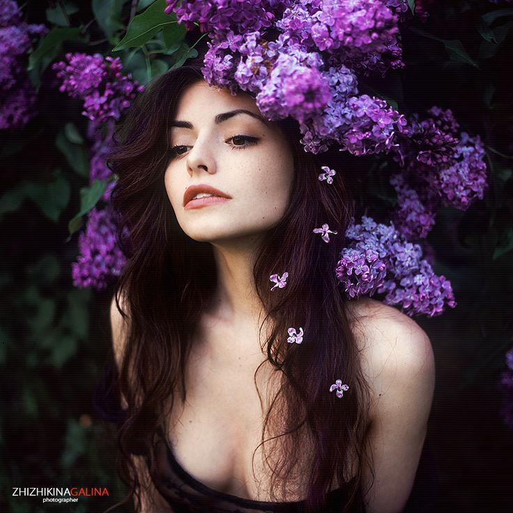 Portrait with lilac