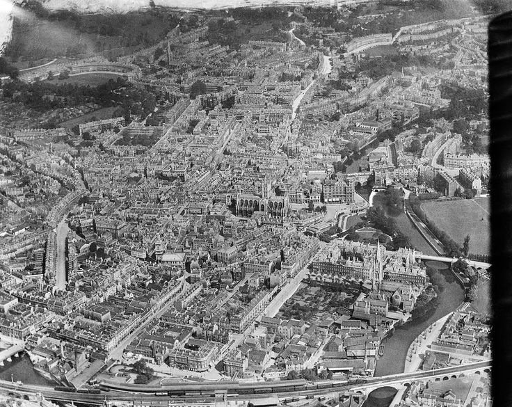 View over Bath city centre and the Abbey, Bath, 1920. | 29 Majestic Historical Photos Of Britain From Above
