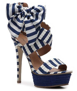 """Zigi Soho Khloe Sandal - White/Blue Heighten your style with a platform sandal from Zigi Soho. The Khloe mixes fun, fresh trends from an espadrille bottomto fun prints.   Pleated fabric upper   Bow detail on ankle   Back zipper   1 1/2 """" rope platform, 5 1/2 """" covered heel   Synthetic sole"""