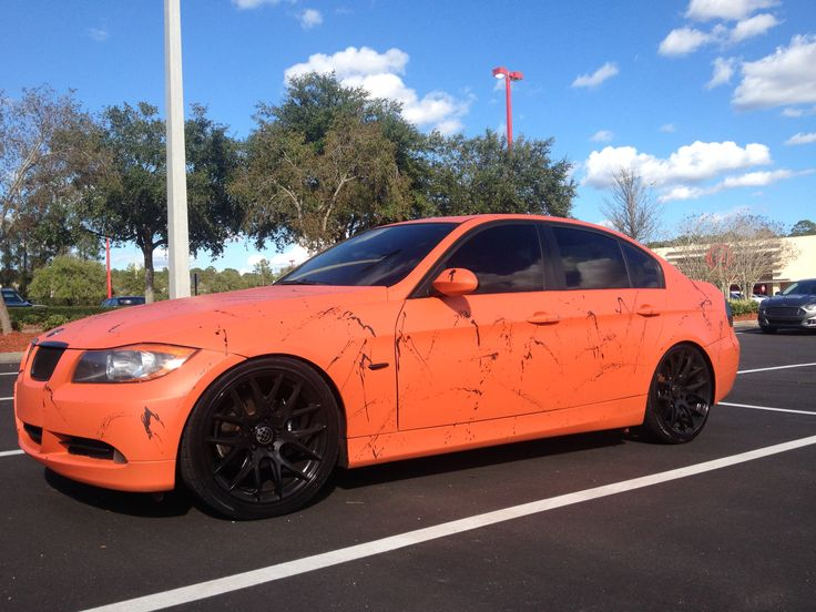 plasti dip koi orange with matte black splatter bmw 325i plasti dip car modifications. Black Bedroom Furniture Sets. Home Design Ideas