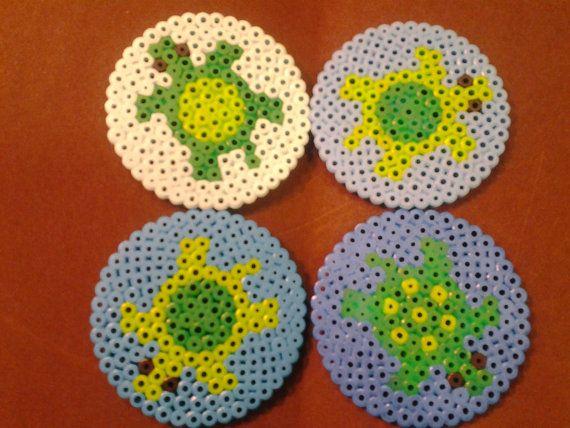 Turtles set of 4 coasters perler beads by lbecca5eg