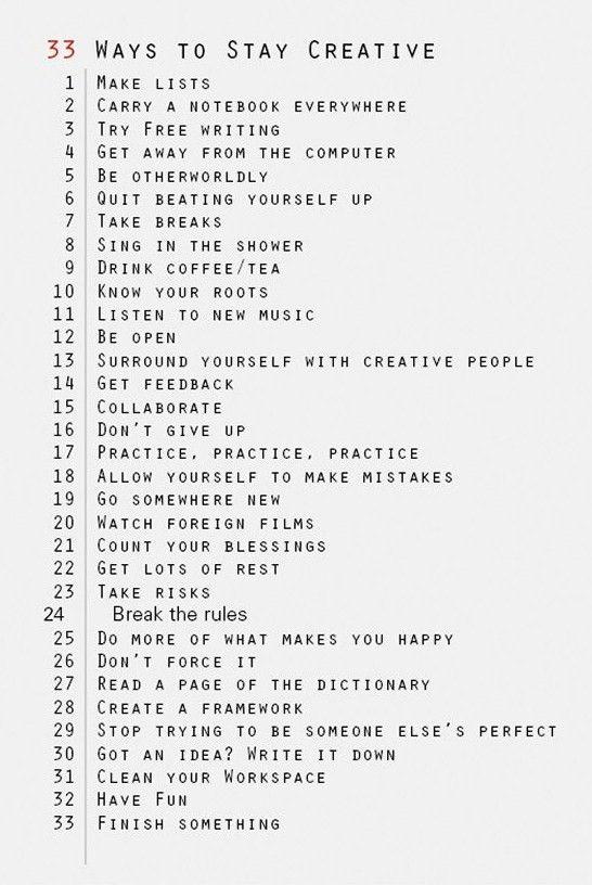 33 Ways to Stay Creative