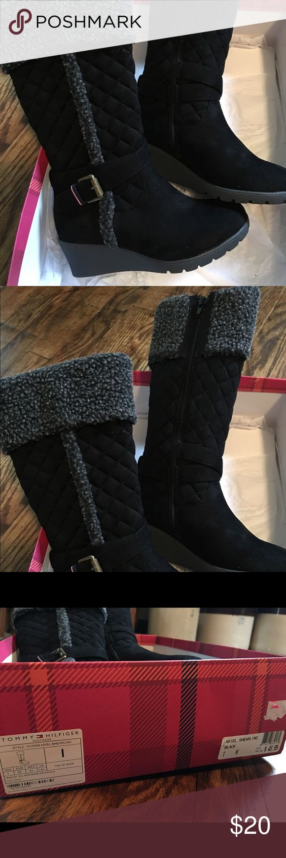 Tommy Hilfiger youth boots Brand new shearling fur boots. Youth size. Slightly wedged heel. Smoke and pet free Tommy Hilfiger Shoes Boots
