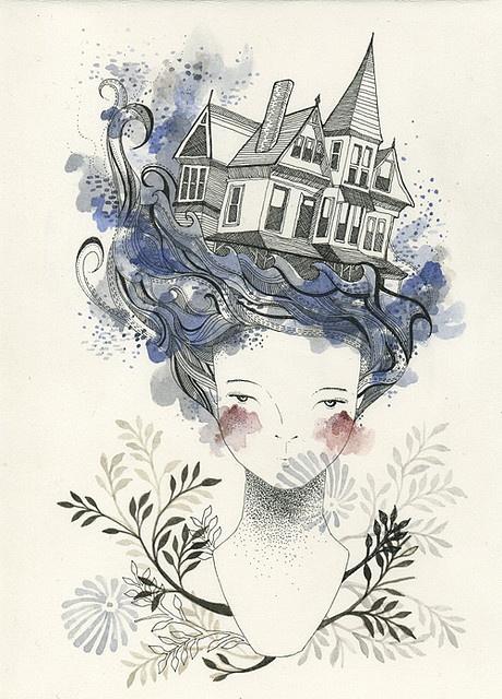 Ilustração feminina e delicada de Catherine Campbell