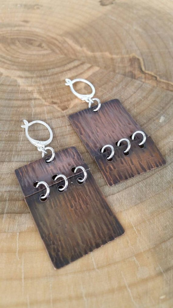 Hey, I found this really awesome Etsy listing at https://www.etsy.com/listing/100528963/asymmetrical-copper-silver-earrings