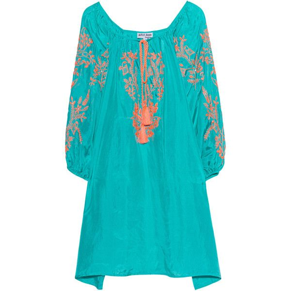 JULIET DUNN Bright Boho Jade/Neon Orange // Hand-embroidered silk... ($365) ❤ liked on Polyvore featuring tops, tunics, evening tops, floral tops, boho tops, bohemian tops and orange tunic