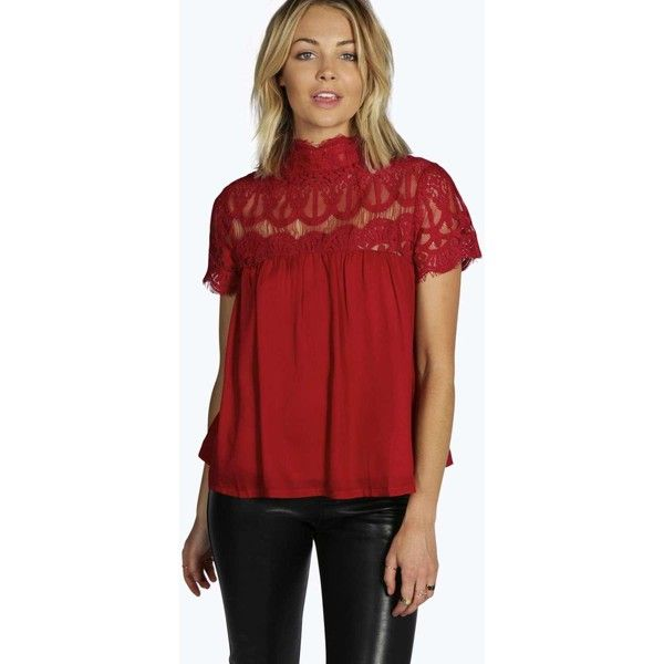 Boohoo Saskia Lace Panel Babydoll Smock Top ($26) ❤ liked on Polyvore featuring tops, red, lace crop top, sequin top, sequin crop top, metallic crop top and red crop top