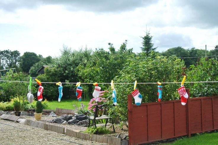 Little Christmas stockings hanging on the line
