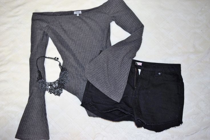 Summer Style ft. Tobi  Grey Off the Shoulder Bodysuit + Black High Waisted Shorts + Black Statement Necklace