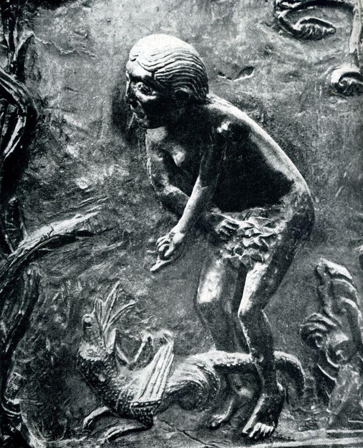 256.  Ева.  Фрагмент  рельефа  бронзовых  дверей из церкви св. Михаила в Гильдесгейме.
