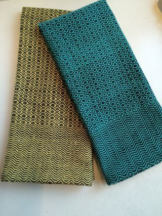 "Two ""M&W"" point twill towels, off the loom!"