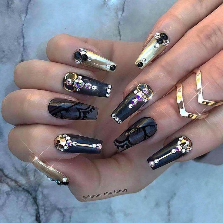 80 dise os de u as decoradas color negro decoraci n de for Piedras pintadas a mano paso a paso