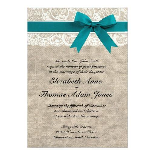 "Rustic Lace Burlap Wedding Invitation Turquoise 5"" X 7"" Invitation Card"