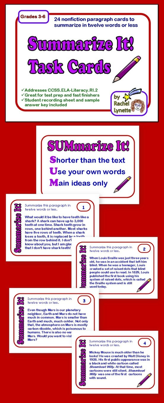 Each of these 24 Task Cards features a short, nonfiction paragraph. Students are challenged to summarize the paragraph in just twelve words or less. $
