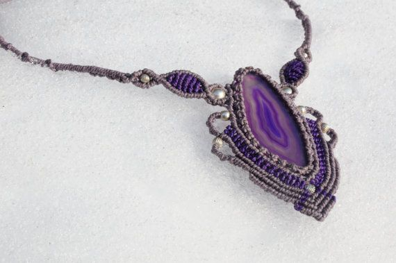 Agate Stone Necklace by tresogniintrecciati on Etsy
