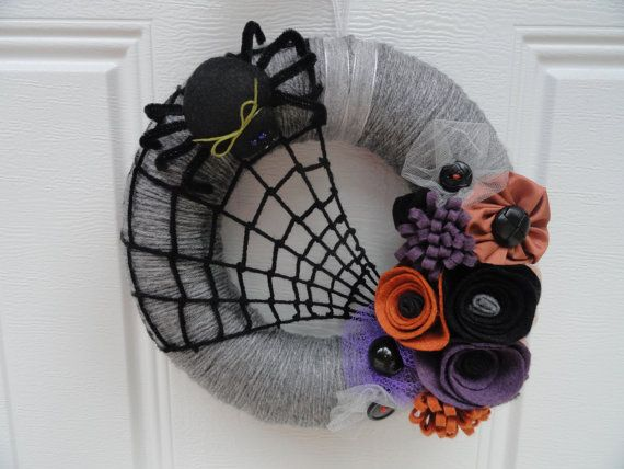 Halloween Yarn Wreath (maybe w/o spider and web)