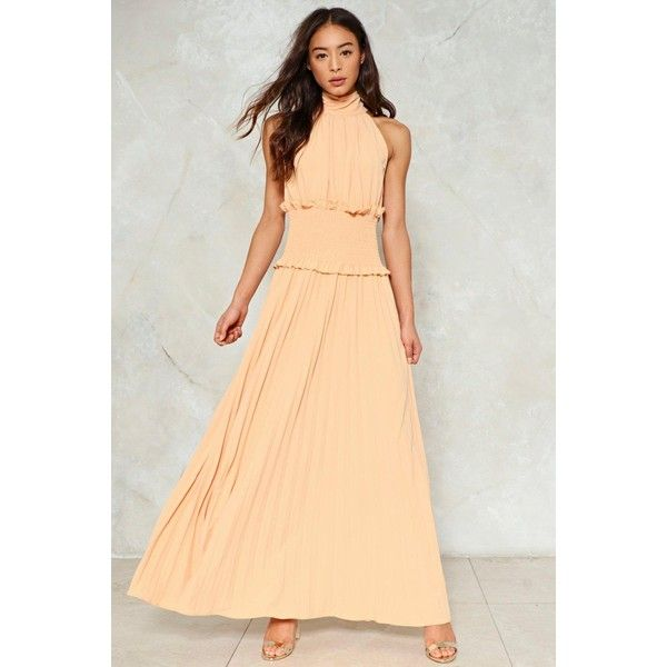 Nasty Gal Make Ends Pleat Maxi Dress (€47) ❤ liked on Polyvore featuring dresses, apricot, turtleneck maxi dresses, pleated dress, beige maxi dress, beige dress and turtle neck dress