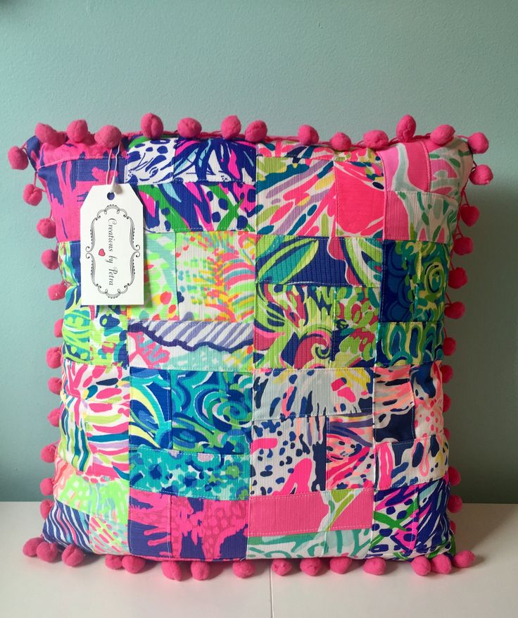 lilly pulitzer quilted pillow sorority one of a kind ready to ship by