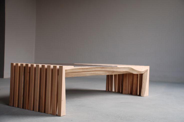 tavolo basso olmo e ferro
