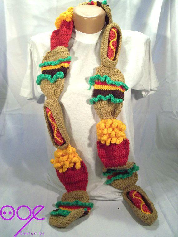French Knitting Scarf : French fries and hamburger hotdog scarf my knit
