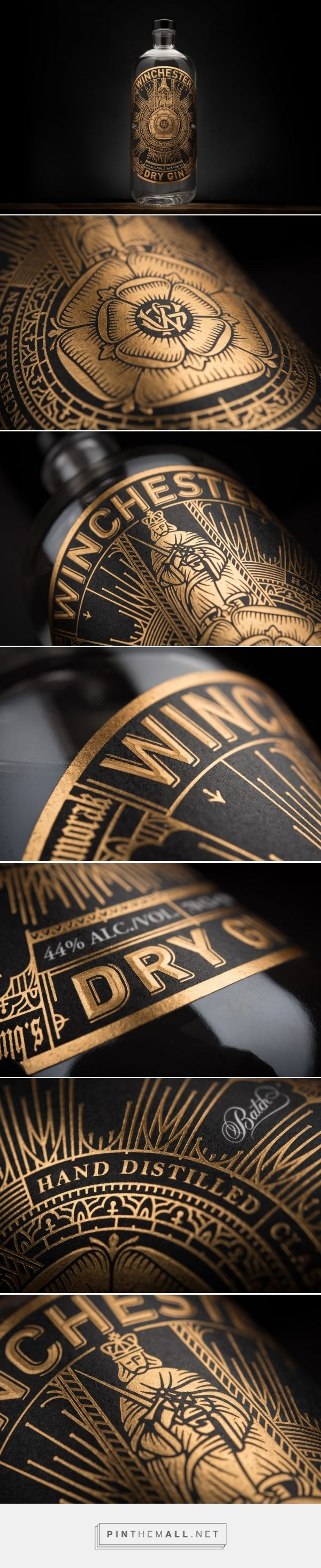 Winchester Gin packaging design by Sant Harwicke - http://www.packagingoftheworld.com/2017/07/winchester-gin.html - created via https://pinthemall.net