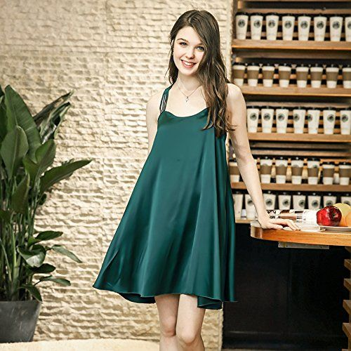 YUANZ Home Summer Sexy Hanging Bandwidth Loose Nightdress Solid Color Thin Pajamas  Female Summer Simulation Silk Home Service (Color   Green) 8afcf1b74