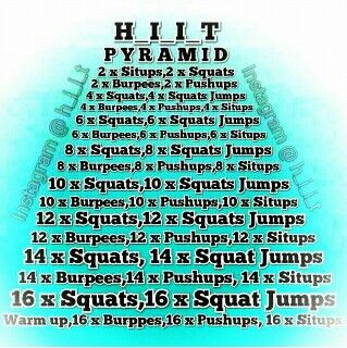HIIT pyramid- a fun way to switch up HIIT train when it doesn't sound that interesting.