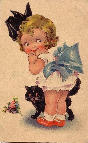 Vintage Little Girl and her Kitten