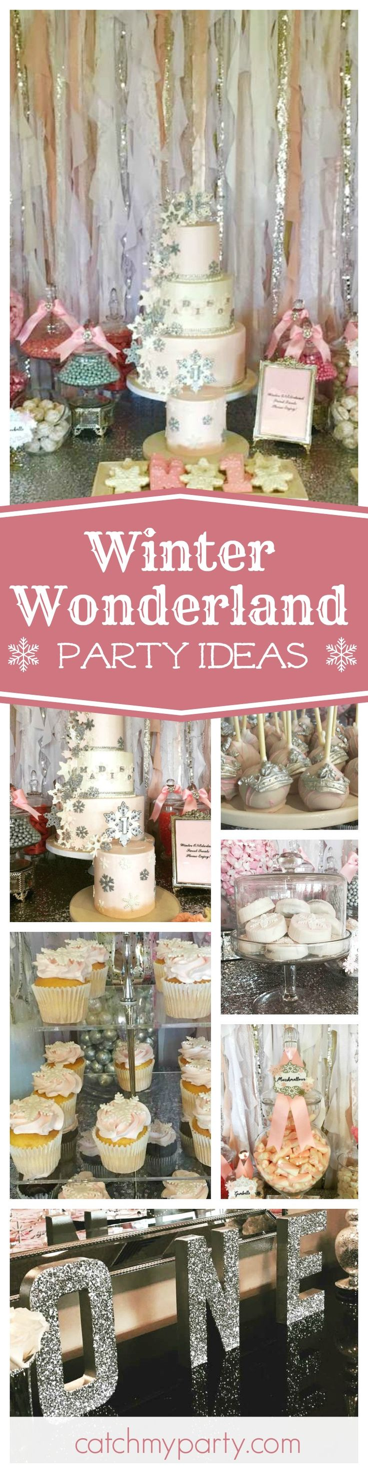 Don't miss this gorgeous Winter Onderland 1st birthday party. The pink and white 3 tier cake covered in snowflakes is just so pretty!! See more party ideas and share yours at CatchMyparty.com