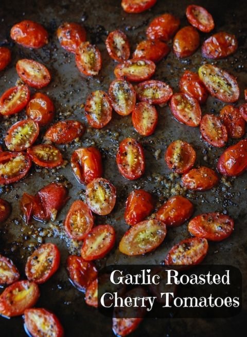 Garlic Roasted Cherry Tomatoes, 375°F 20-25 min, tossed in olive oil, garlic, salt, and pepper. Mmmmmmm I usually roast with okra too!
