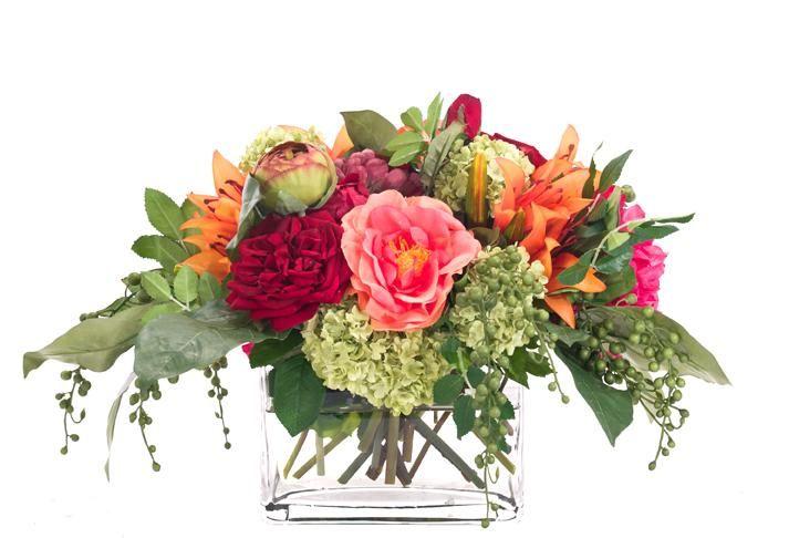 Natural+Decorations,+Inc.+-+Peony+Lily+Fuchsia+Orange+Green+ +Glass+Rectangle
