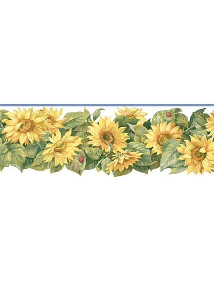 Kitchen & Bath Sunworthy Sunflowers DieCut Wallpaper