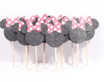 12 noir paillettes Minnie Mouse Cupcake Toppers/aliments pics avec pois rouge & blanc arcs n° 181