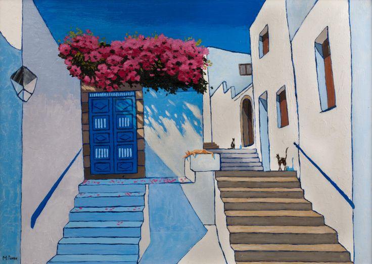 Santorini Art Print, Original Art Print, Greece, Print, Painting for Interior…